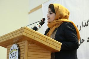 H.E. Ms. Kamila Sidiqi speaking at the Conference for Identifying Business Challange in Bamyan Province on Oct 15, 2017