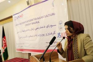 H.E. Ms. Kamila Sidiqi speaks at the Women Agricultural Credit Shura in Herat on 29th Nov. 2017