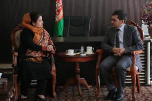 Her Excellency Ms. Kamila Sidiqi discussing trade and commercial reforms with Excellency Mohammad Tahir Zuhair, Governor of Bamyan Provinc