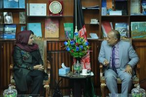 Her Excellency discussing trade issues with the Deputy Governor of Balkh Province Mr. Muhammad Bashir on 26th Sept. 2017